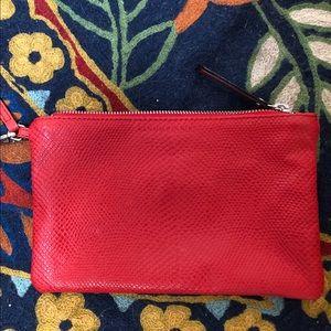 Banana Republic red leather wristlet clutch purse